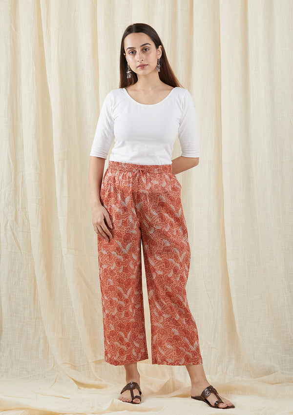 Peach Print Box Pants