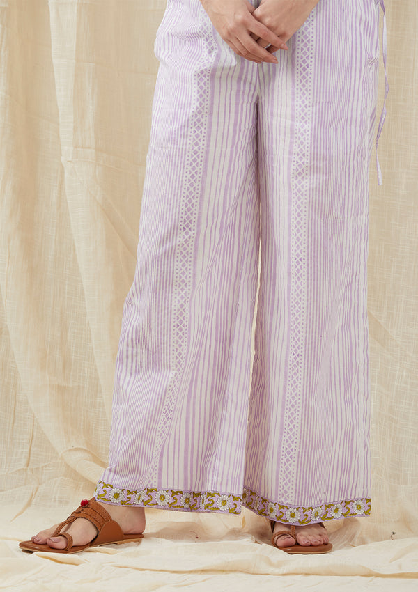 Lilac Striped Box Pants