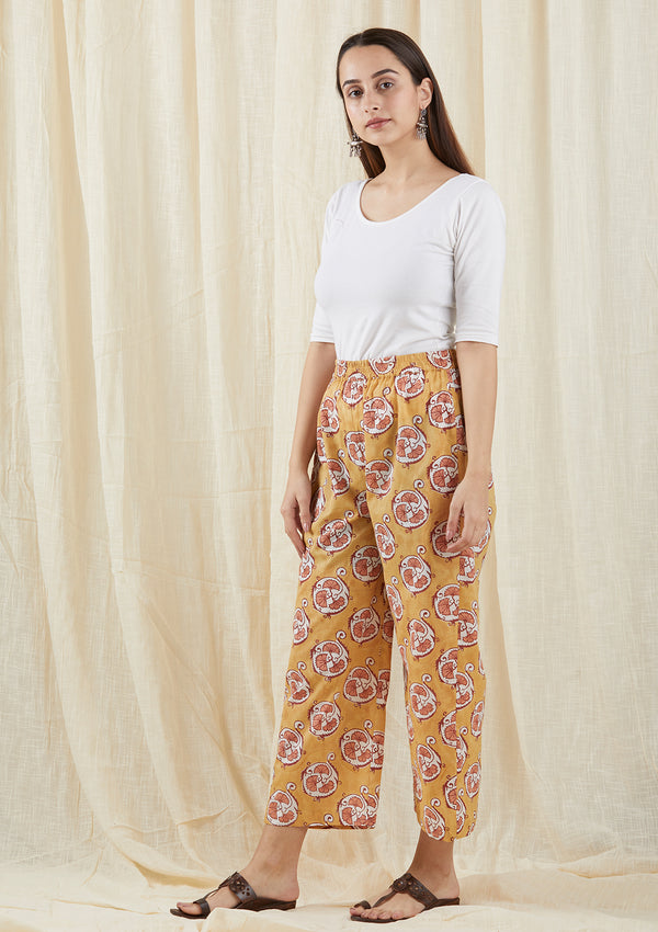 Mustard peach floral pants