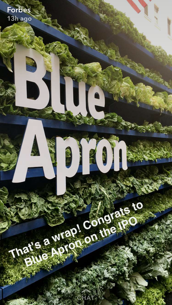 The end of Blue Apron story on Snapchat by Forbes