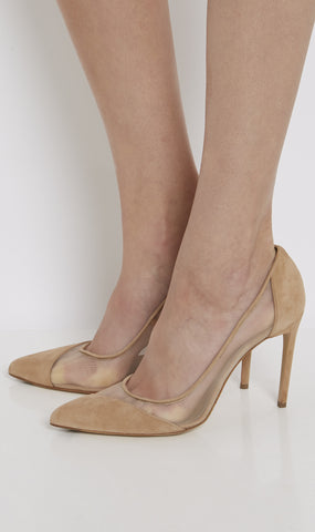 Bay mesh detail suede pump