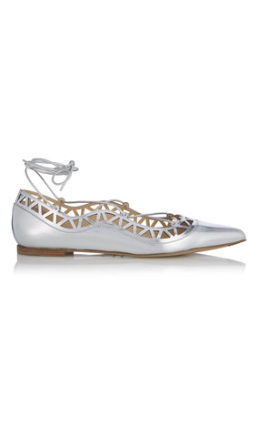 Aida laser cut metallic leather flat