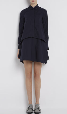 Layered cotton poplin shirtdress
