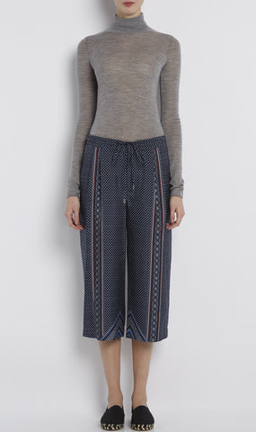 Cropped silk twill track pant