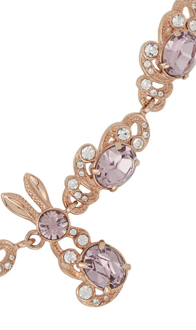 Crystal encrusted bunny love necklace