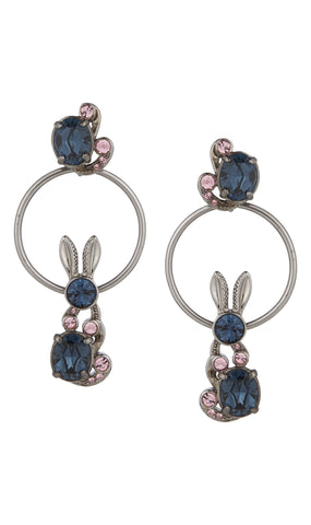 Crystal encrusted bunny love hoop earrings