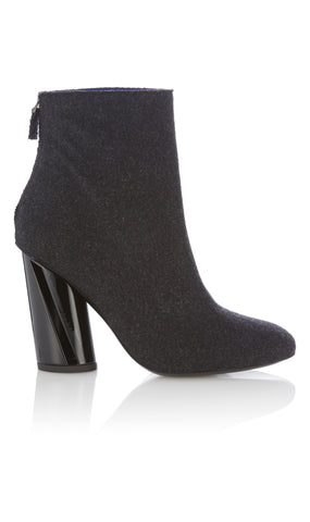 Heeled felt ankle boots