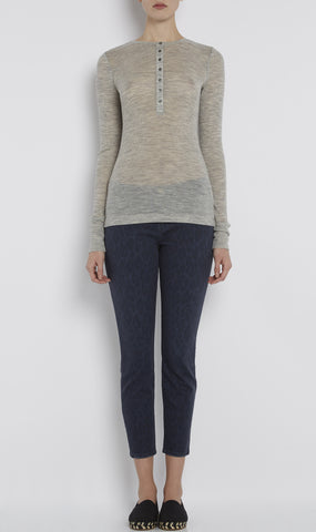 Rib long-sleeve henley