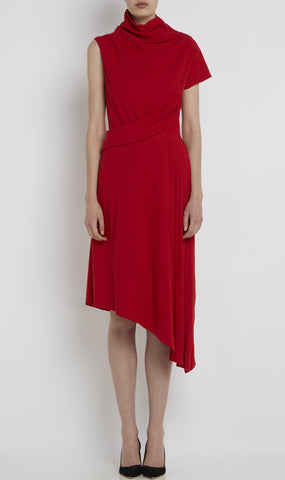 A-symmetric wool twill dress