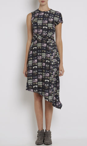 A-symmetric tape print dress
