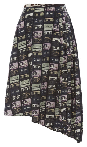 A-symmetric tape print skirt
