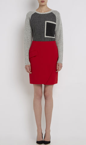 A-symmetric wool wrap skirt
