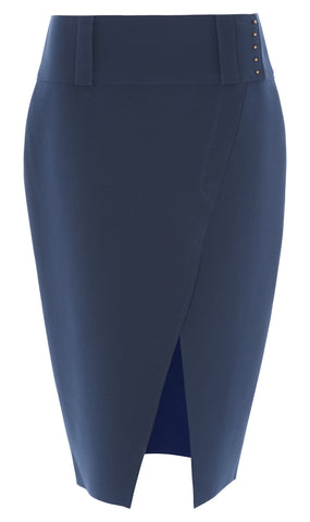 Double crepe slit pencil skirt