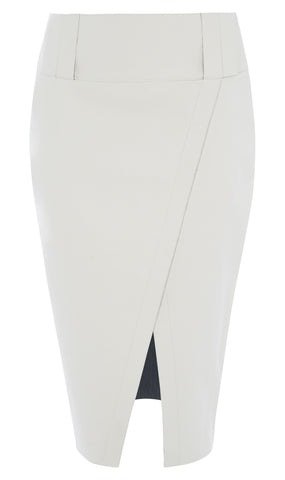 Coated denim slit pencil skirt