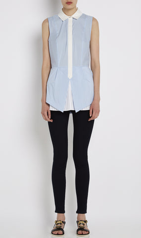 Sleeveless cotton blend pleated hem shirt