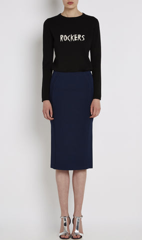 Compact knit pencil skirt