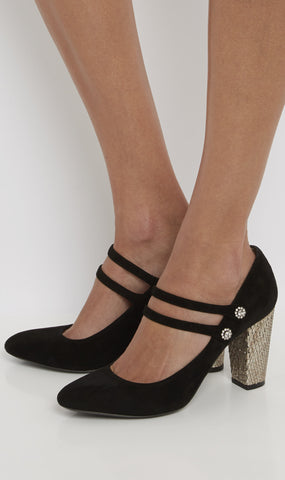 Chamois mary jane heel