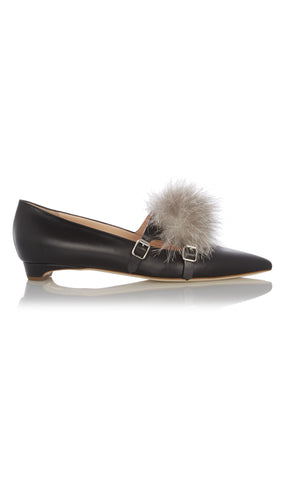 Ralph leather and fur flats