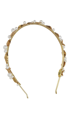 Shelly Pearl-Embellished Gold Tone Headband