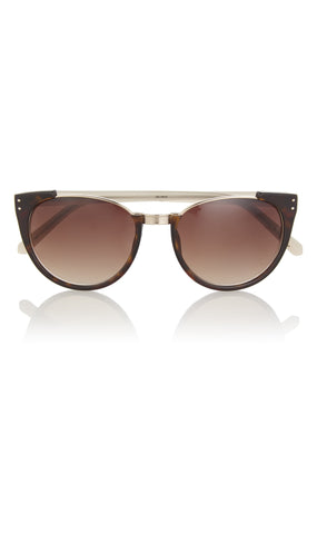 Round Frame Tortoiseshell And Acetate Sunglasses