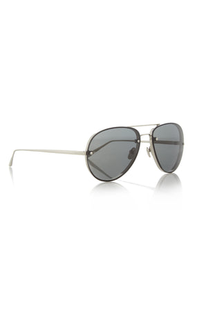 Aviator White-Gold Plated And Acetate Sunglasses