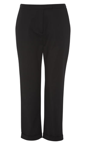 Cropped straight-leg cotton-blend trousers