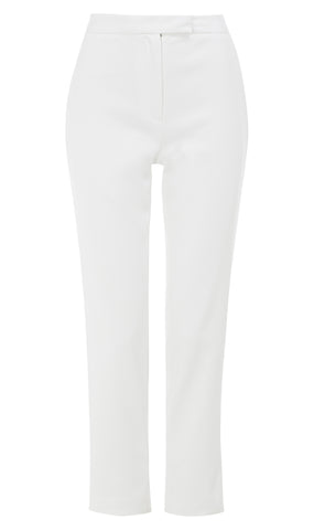 Slim-leg cotton-blend trousers