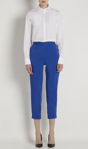 High-waisted cotton-blend trousers