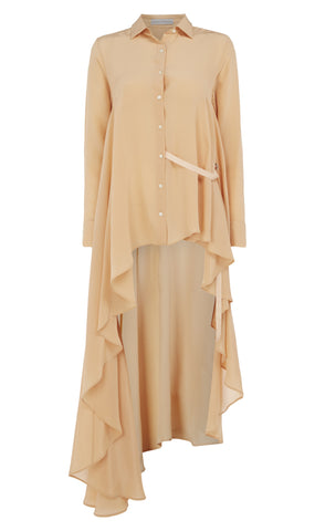 Long a-symmetric silk shirt