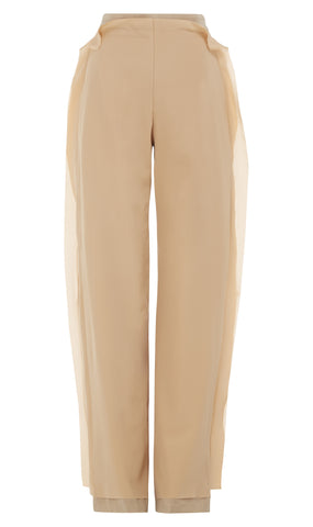 High-waisted silk trousers