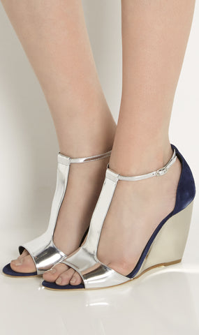 June suede and metallic wedge sandals