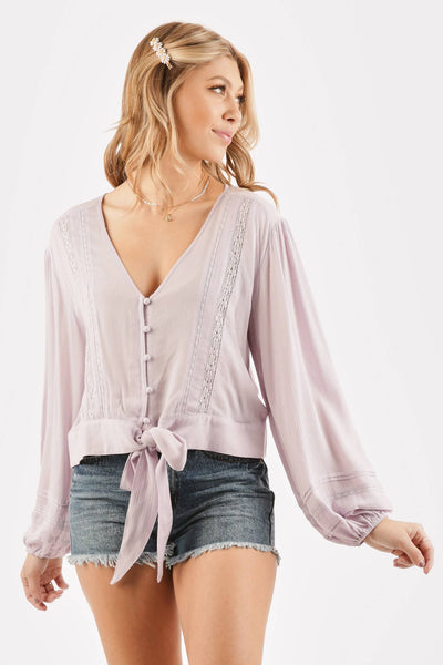 Lola Lavender Flowing Long Sleeve Top