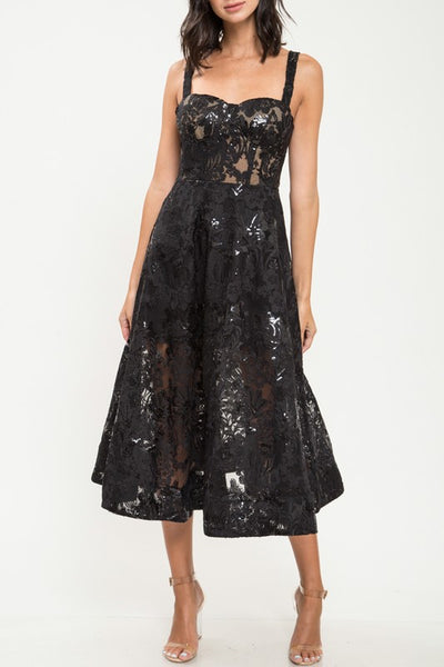 Modern Day Audrey Black Lace Midi Swing Dress