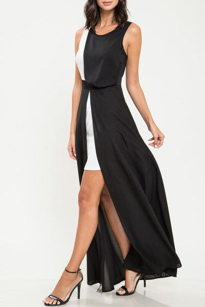 Black & White Color Block High-Low Dress