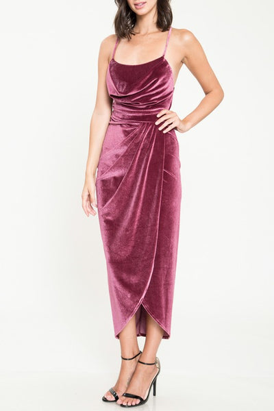 Mauve Marilyn Velvet Midi Dress