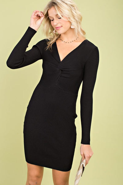 With a Twist Black Long Sleeve Sweater Dress