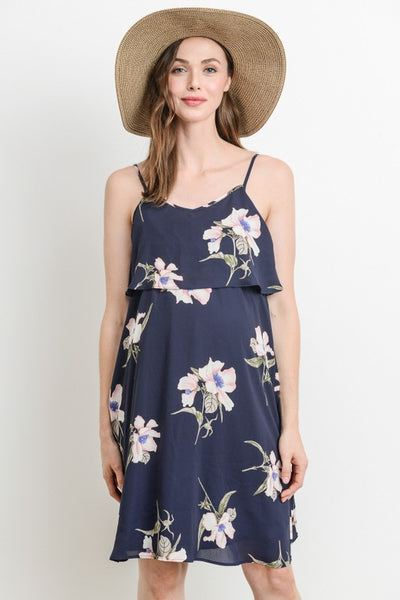 Flouncy Floral Print Navy Camisole Dress