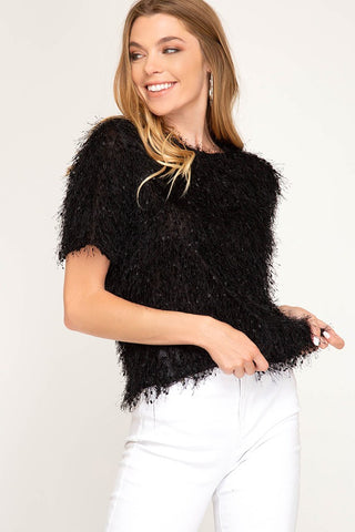 Fuzzy Fringe Black Short Sleeve Top