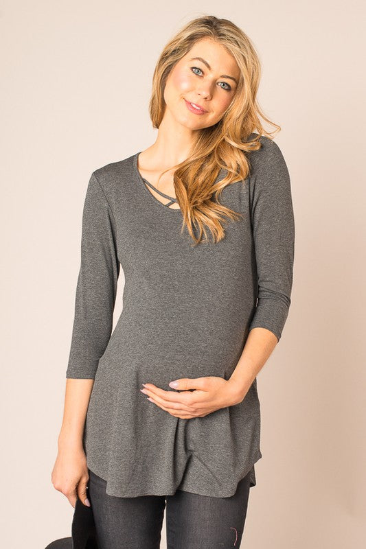X's and O's Knit 3/4 Sleeve Maternity Top
