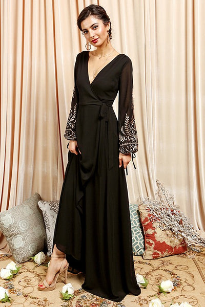 Swept Away Embroidered Long Sleeve Maxi Dress