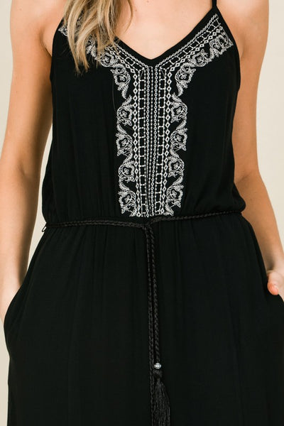 Go with the Flow Embroidered Black Maxi Dress