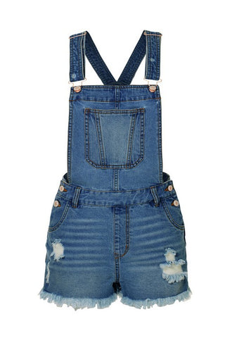 Frayed Hem Distressed Denim Shortalls