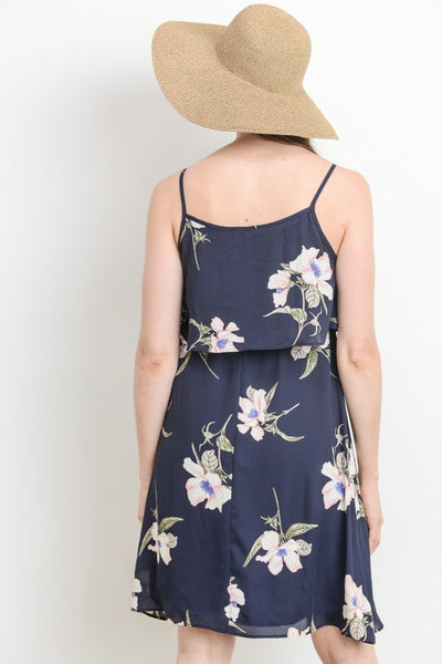 Flouncy Floral Print Navy Dress