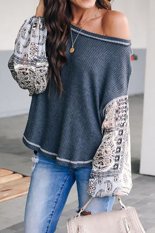 Balloon Blouse Thermal Long Sleeve Top
