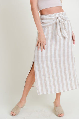 Striped Linen Tie Waist Midi Skirt (more colors)