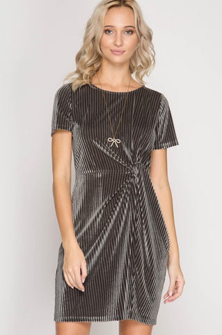 Luxe Be A Lady Grey Velvet Dress