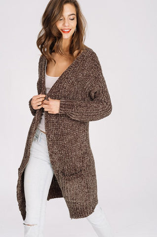 Olive Chenille Cardigan Sweater with Pockets