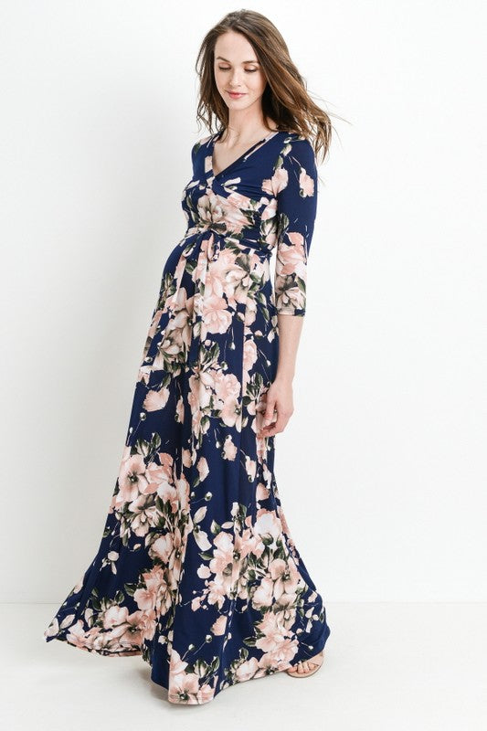 Navy & Blush Floral Print 3/4 Sleeve Wrap Maxi Dress