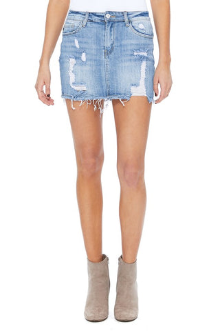 Destroyed Dolly Light Wash Denim Skirt