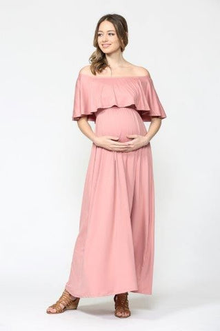 Off Shoulder Maternity Maxi Dress (more colors)